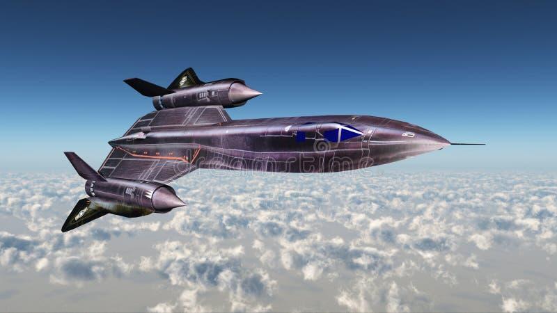 Strategic Reconnaissance Aircraft Blackbird. Computer generated 3D illustration with the Strategic Reconnaissance Aircraft Blackbird of the Cold War stock illustration