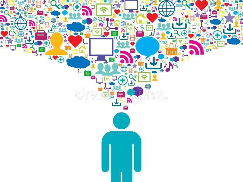 Strategiczna komunikacja w ogólnospołecznej sieci ilustracja wektor