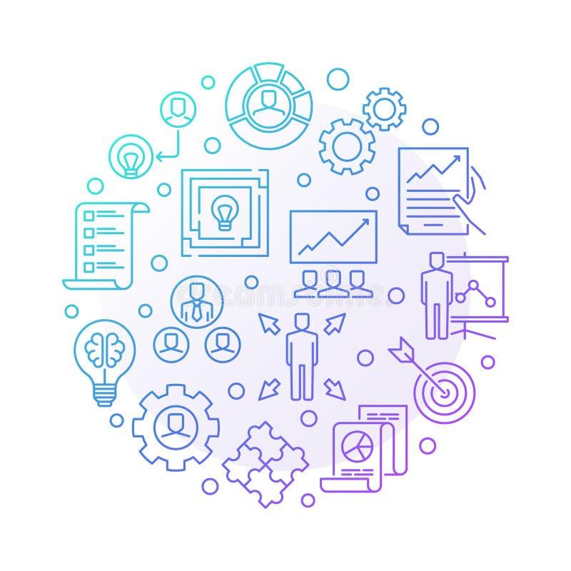 Strategicznego zarządzanie wektoru barwionego round liniowa ilustracja ilustracja wektor