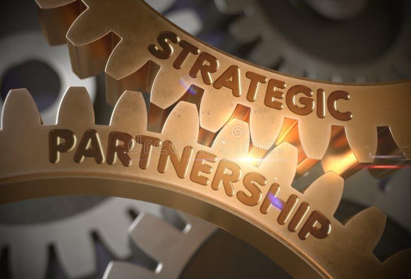 Strategiczny partnerstwo na Złotych Cog przekładniach ilustracja 3 d ilustracji