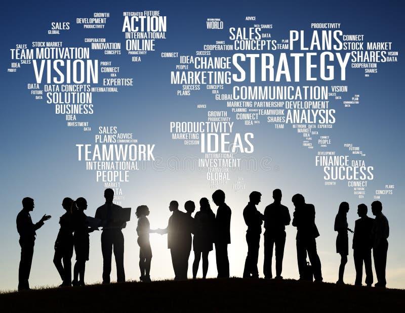 Strategie-Analyse-Weltvisions-Auftrag-Planungs-Konzept lizenzfreie abbildung