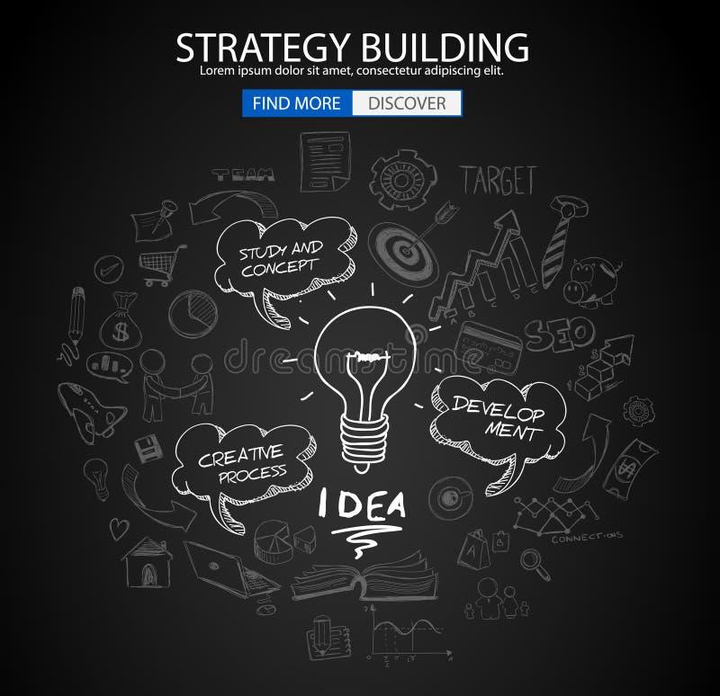 Strategie de Bouwconcept met de stijl van het Krabbelontwerp: het vinden van oplossing stock illustratie