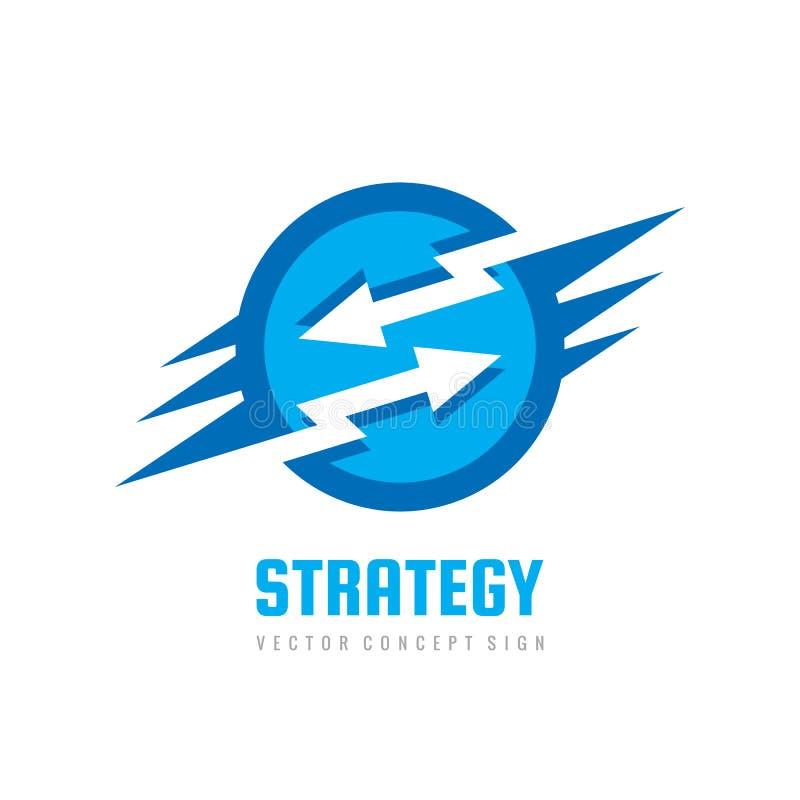 Strategie - de vectorillustratie concepten van het bedrijfsembleemmalplaatje Pijlen met bliksem abstract creatief teken Het picto vector illustratie
