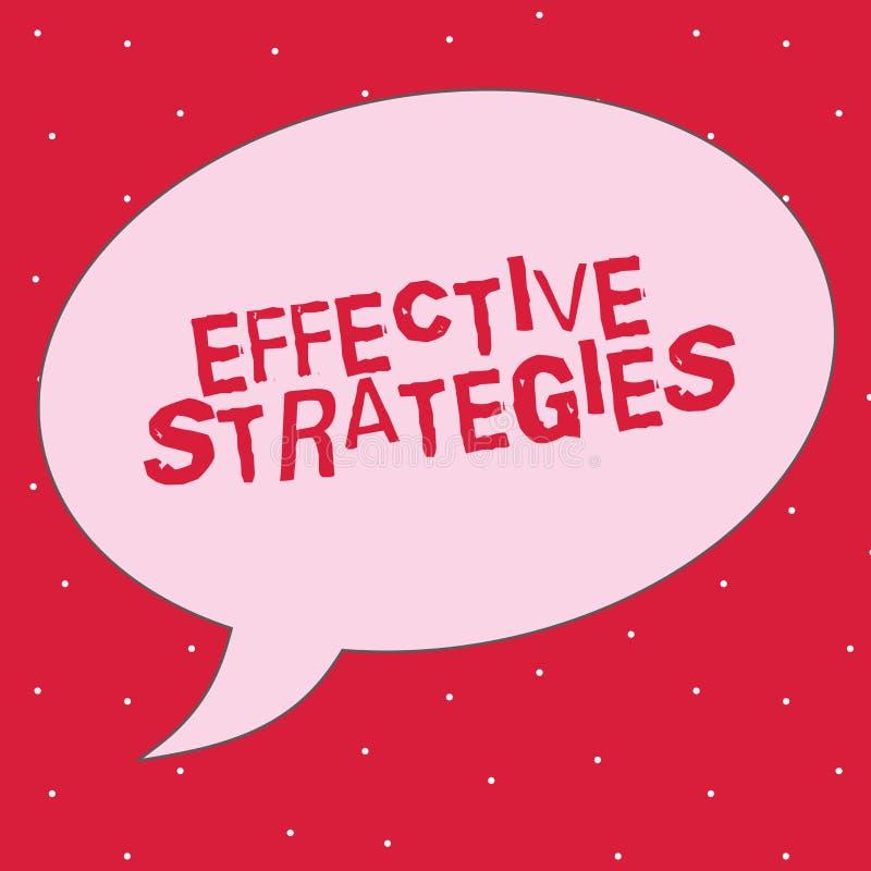 Strategie del testo di scrittura di parola efficaci Concetto di affari per le decisioni operative potenti di schema tattico sano illustrazione di stock