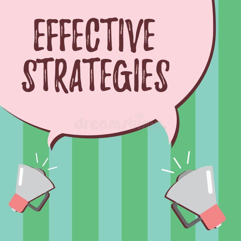 Strategie del testo di scrittura di parola efficaci Concetto di affari per le decisioni operative potenti di schema tattico sano royalty illustrazione gratis