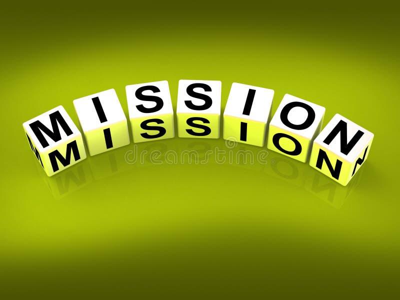 Strategie e scopi di missione di manifestazione dei blocchetti di missione illustrazione di stock