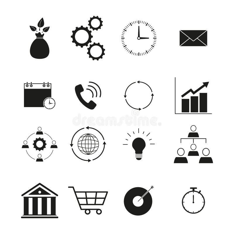 Strategie en beheerspictogram vastgestelde tijd van pictogrammen vector illustratie