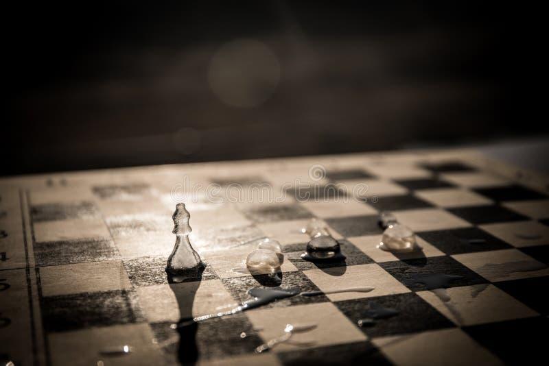 Strategie en tactiekconcept Ijzige berijpte schaakcijfers die zich op een schaakbord tijdens zonsondergang bevinden royalty-vrije stock afbeelding