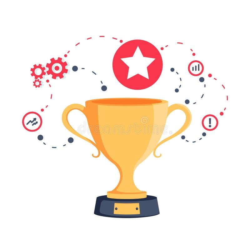 Strategie für Erfolgsgewinnpreis- und -belohnungsprogramm Spieltrophäe der goldenen Schale für Siegerehrung vektor abbildung