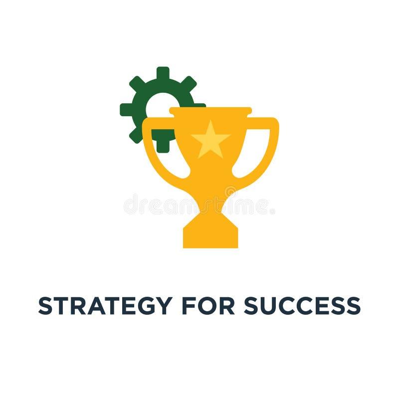 Strategie für Erfolgsikone Gewinnpreis, große Durchführung, Erstplatz- Schüsselkonzept-Symbolentwurf, Belohnungsprogramm, goldene lizenzfreie abbildung