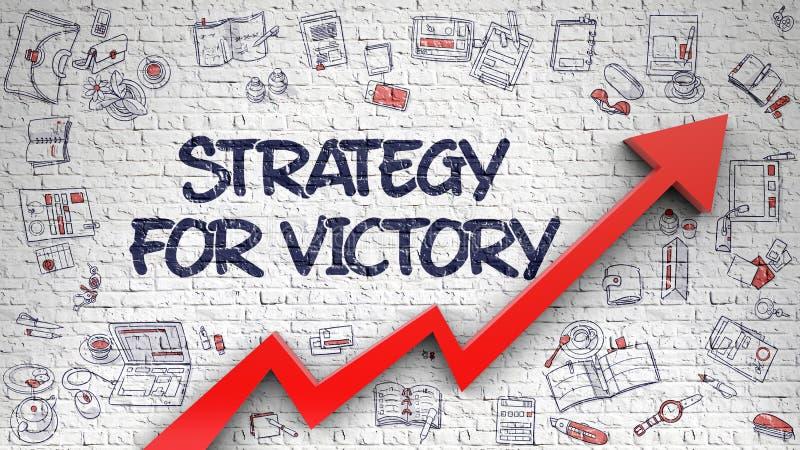 Strategie für Victory Drawn auf Backsteinmauer 3d vektor abbildung