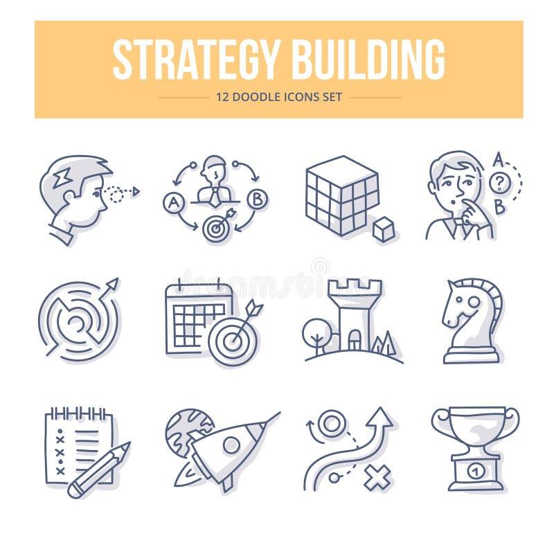 Strategie-Gebäude-Gekritzel-Ikonen stock abbildung