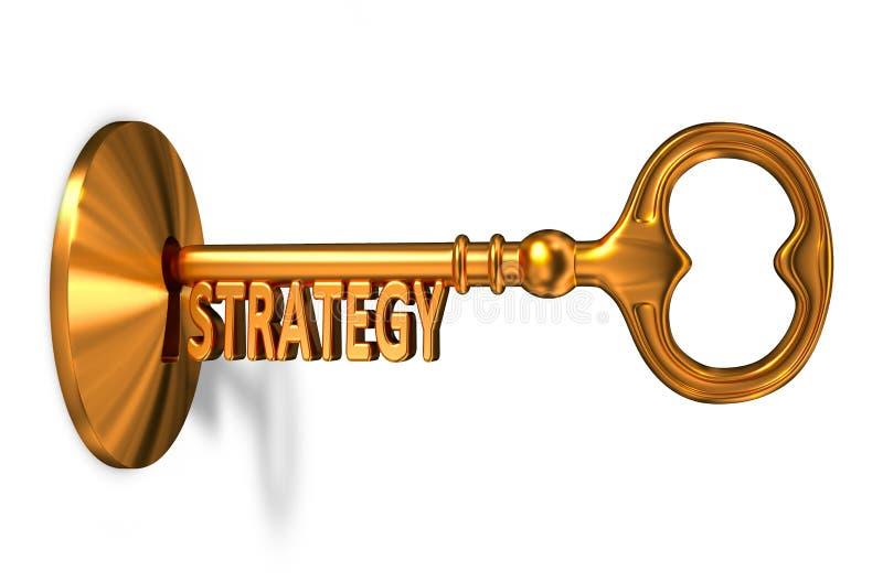 Strategie - goldener Schlüssel wird in das Schlüsselloch eingefügt stock abbildung