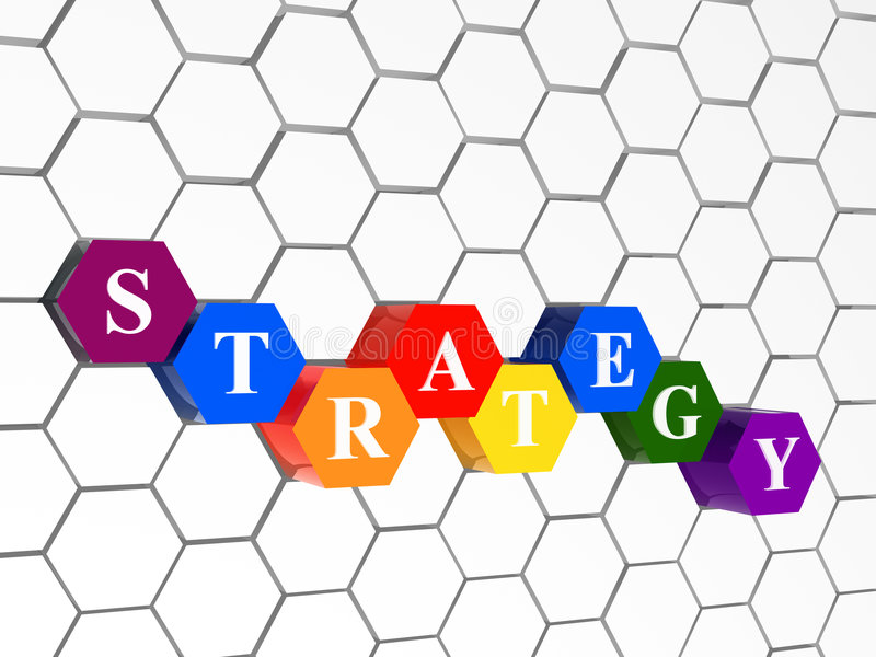 Strategie, kleur hexahedrons, cellulaire structuur stock illustratie