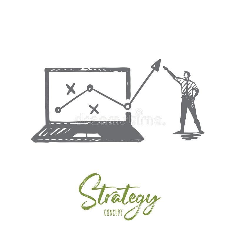 Strategie, Marketing, Diagramm, Diagramm, Pfeilkonzept Hand gezeichneter lokalisierter Vektor vektor abbildung