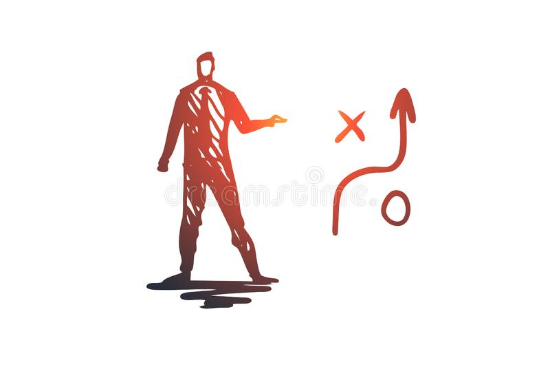 Strategie, Plan, Pfeil, Management, Geschäftsmannkonzept Hand gezeichneter lokalisierter Vektor vektor abbildung