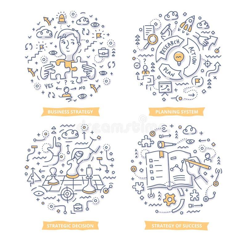 Strategie-u. Ziel-Gekritzel-Illustrationen lizenzfreie abbildung