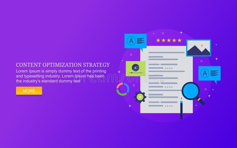 Strategie van de inhoudsoptimalisering, efficiënt exemplaar die, optimaliseert inhoud voor website, mobiele inhoud voor digitaal  stock illustratie