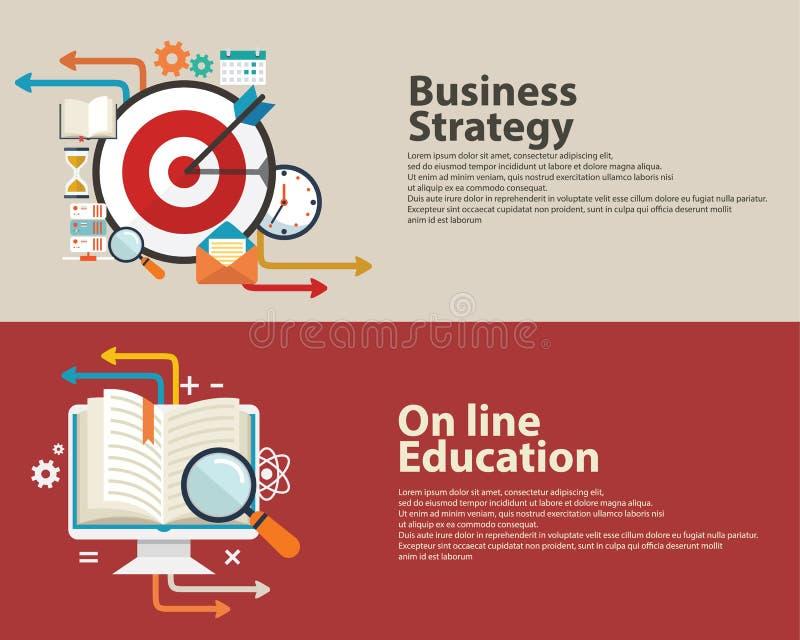 Strategieconcept, het bedrijfs raadplegen, Online Onderwijs vlak modern ontwerp De Banner Design royalty-vrije illustratie