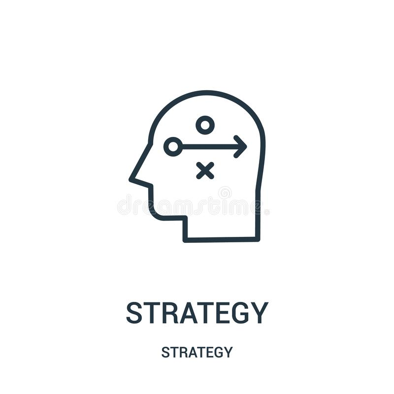 Strategieikonenvektor von der Strategiesammlung D?nne Linie Strategieentwurfsikonen-Vektorillustration Lineares Symbol vektor abbildung
