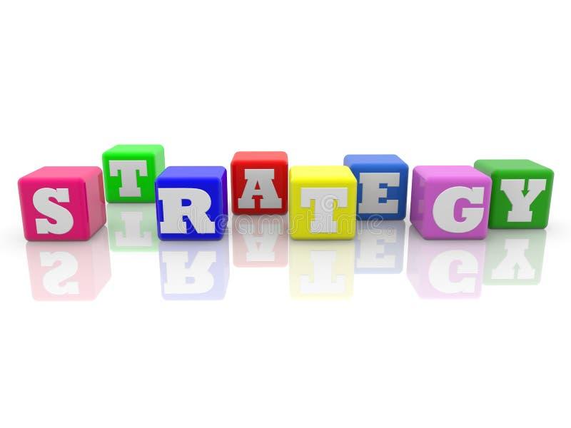 Strategiekonzept auf bunten Würfeln auf weißem Hintergrund lizenzfreie abbildung