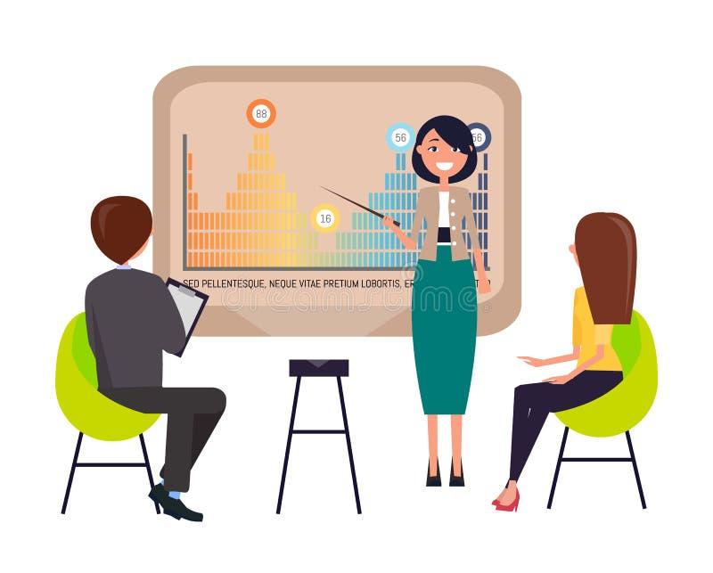 Strategiepresentatie door Onderneemster Presenter stock illustratie