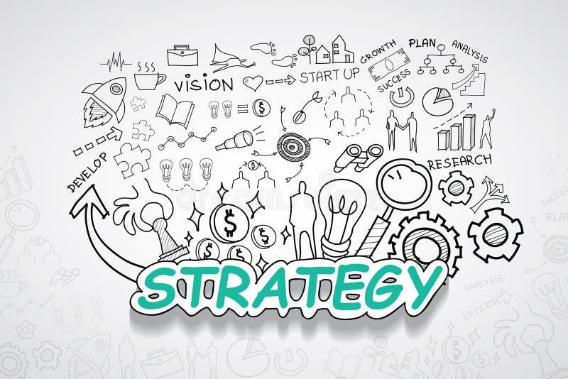 Strategietekst, met creatief tekeningsgrafieken en grafieken het planidee van de bedrijfssuccesstrategie, moderne het ontwerptemp stock fotografie