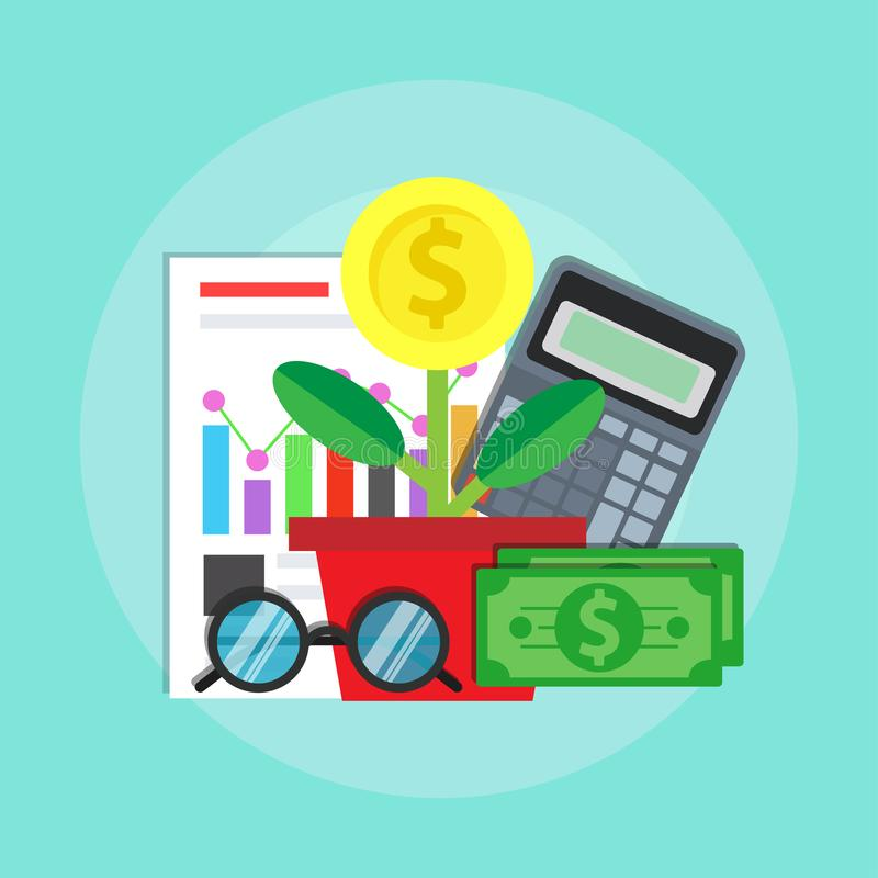 Strategii biznesowej zarządzania pojęcia ikony tła wektor Cyfrowego inwestorskiego planu symbol Fachowy przywódctwo brainstorming ilustracja wektor