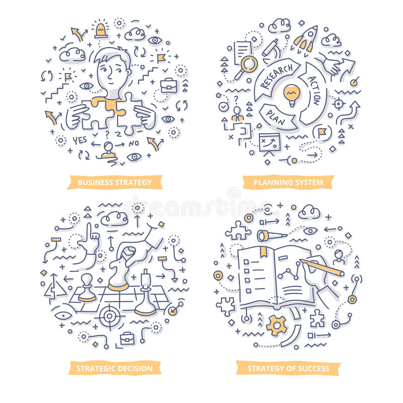 Strategii & celu Doodle ilustracje royalty ilustracja
