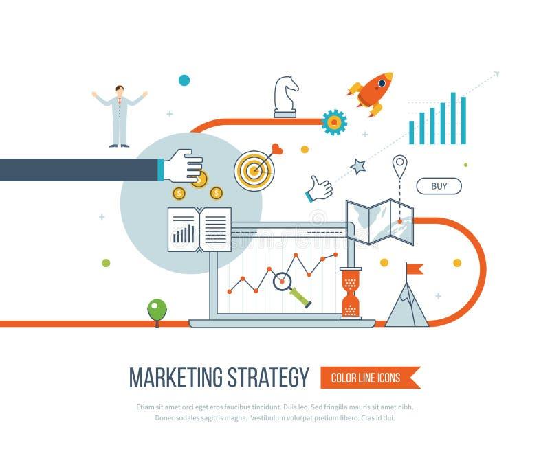 Strategii marketingowej i zawartości marketing Zarządzanie inwestycyjne Cienki Kreskowy projekt royalty ilustracja