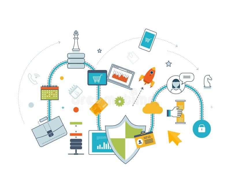 Strategii marketingowej i zawartości marketing Zarządzanie inwestycyjne Cienki Kreskowy projekt ilustracja wektor