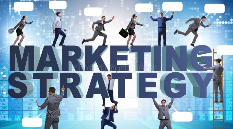 Strategii marketingowej poj?cie z biznesmenem i dru?yn? zdjęcie stock