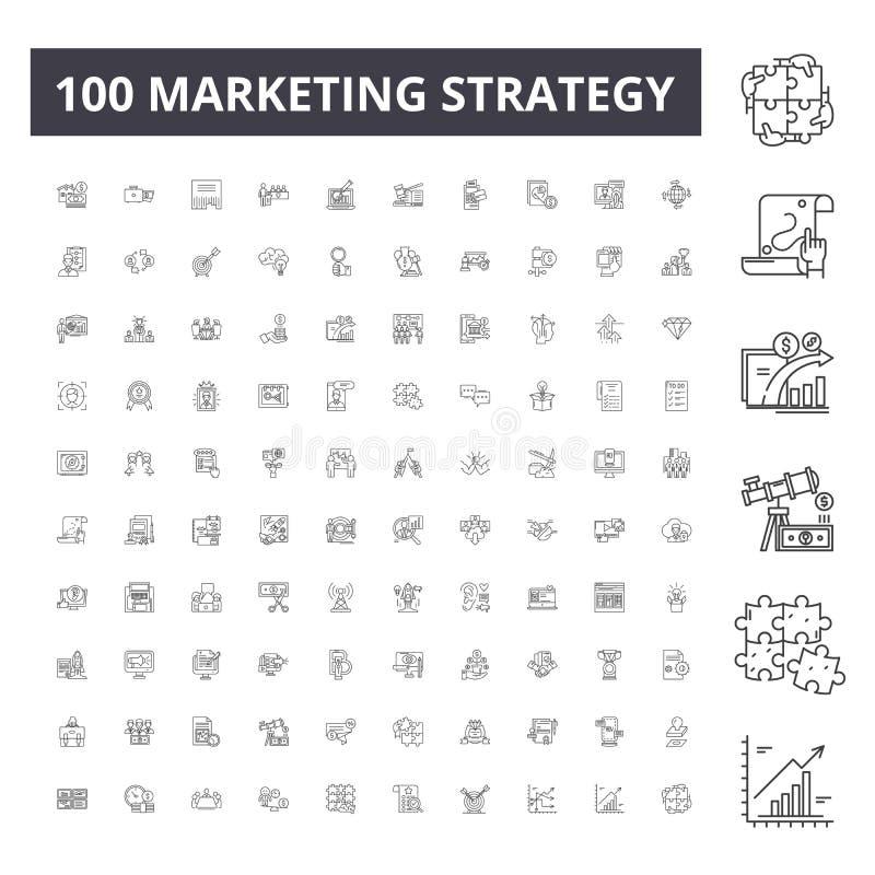 Strategii marketingowych kreskowe ikony, znaki, wektoru set, kontur ilustracji pojęcie ilustracja wektor