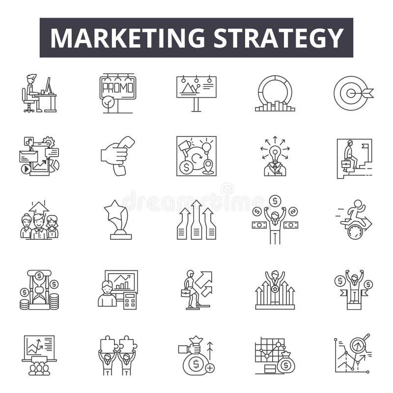 Strategii marketingowych kreskowe ikony, znaki, wektoru set, liniowy pojęcie, kontur ilustracja royalty ilustracja
