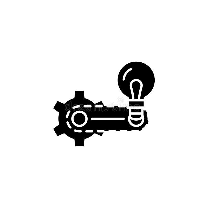 Strategii wypracowania czerni ikony pojęcie Strategii wypracowania płaski wektorowy symbol, znak, ilustracja ilustracji