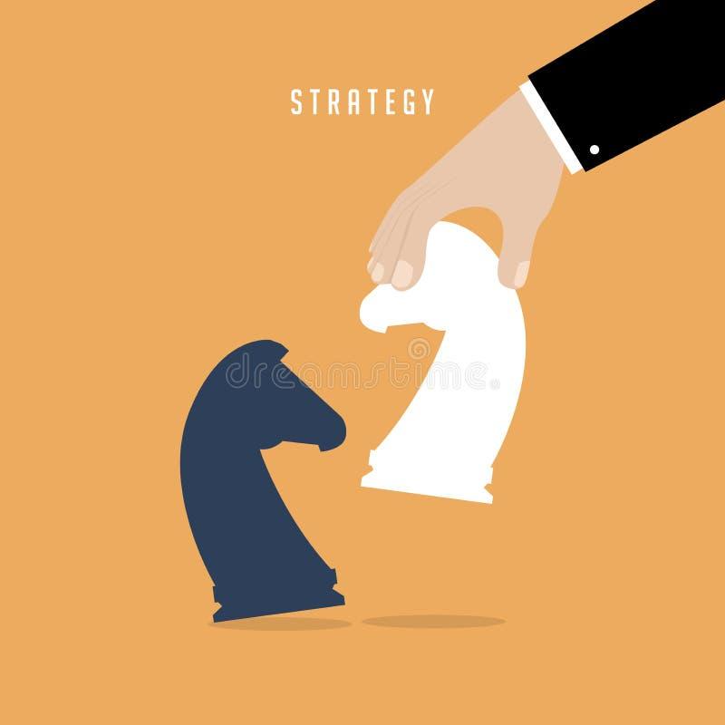 Strateginnehav i handschackdiagramet vit häst slagman för strategi för holding för hand för begrepp för baseballaffärsaffärsman royaltyfri illustrationer