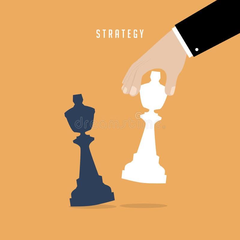 Strateginnehav i handschackdiagramet vit konung slagman för strategi för holding för hand för begrepp för baseballaffärsaffärsman stock illustrationer