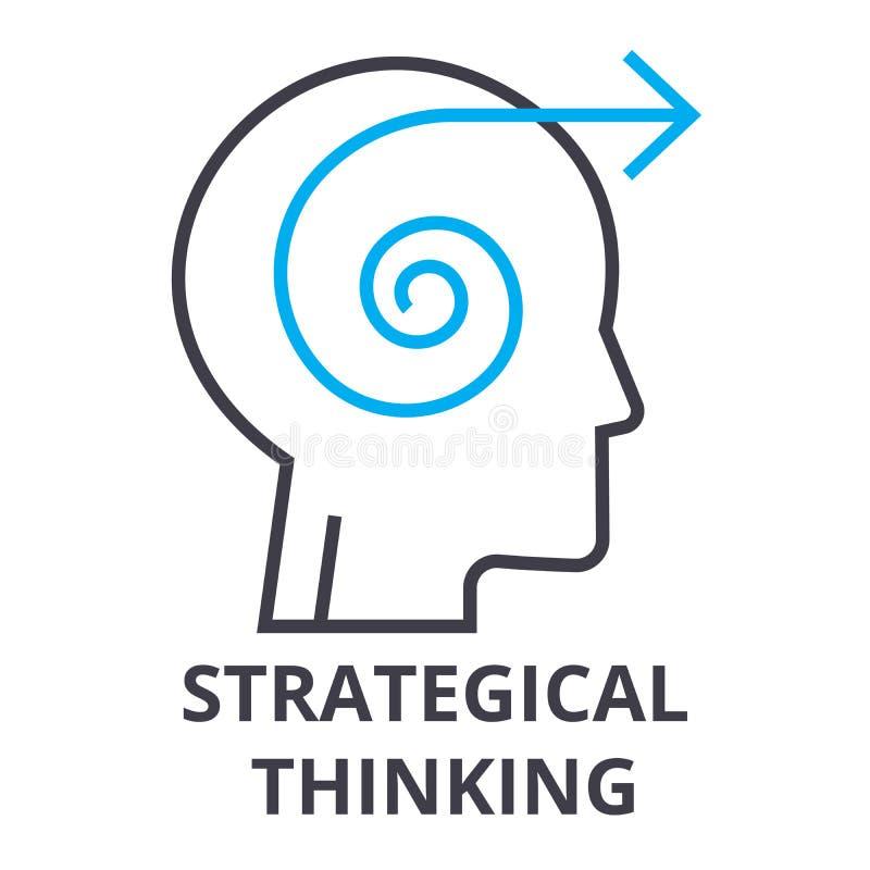 Strategisch het denken dun lijnpictogram, teken, symbool, illustation, lineair concept, vector royalty-vrije illustratie
