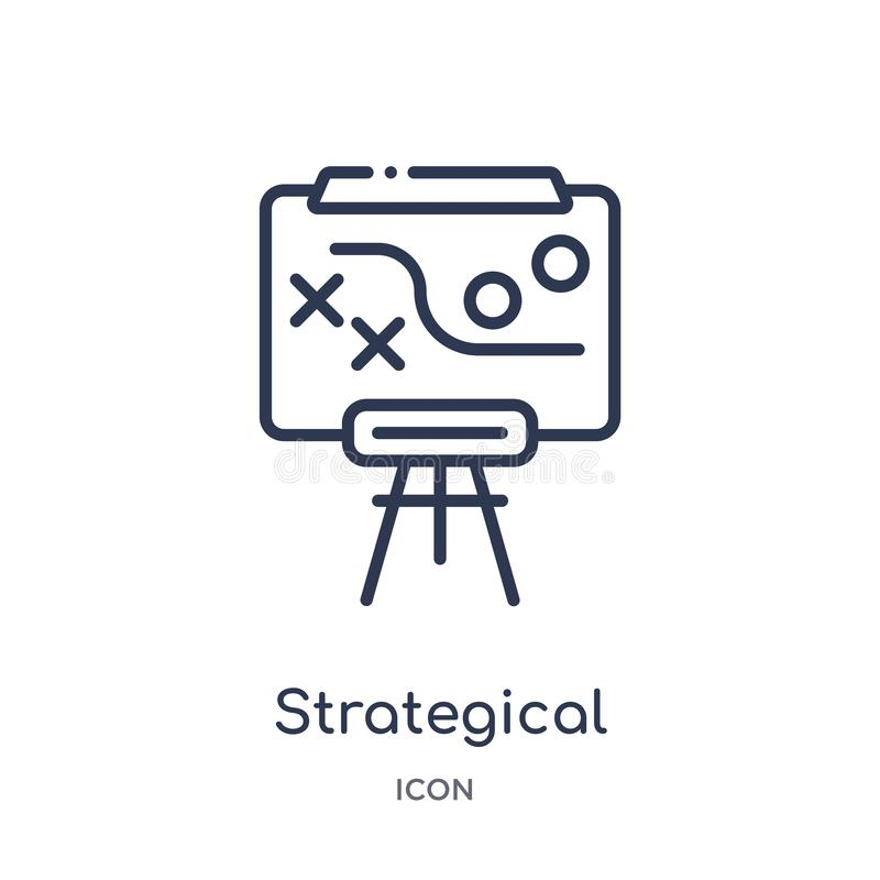 strategisch planningspictogram van stategy opstarten en de inzameling van het succesoverzicht Dun lijn strategisch geïsoleerd pla royalty-vrije illustratie
