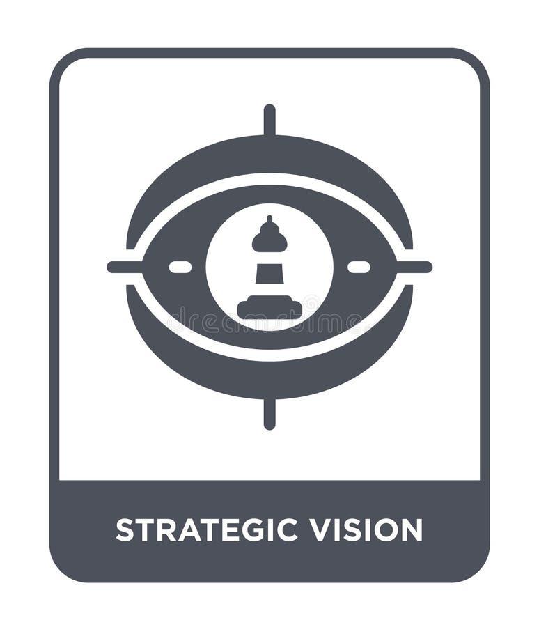 strategisch visiepictogram in in ontwerpstijl strategisch die visiepictogram op witte achtergrond wordt geïsoleerd strategisch vi vector illustratie