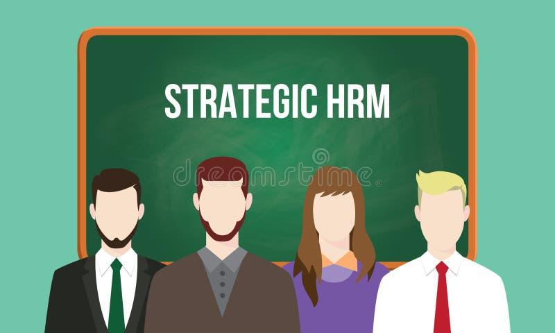 Strategische die hrm of de mens van middelen voorziet de illustratie van het beheersconcept met tekst op bord wordt geschreven vector illustratie