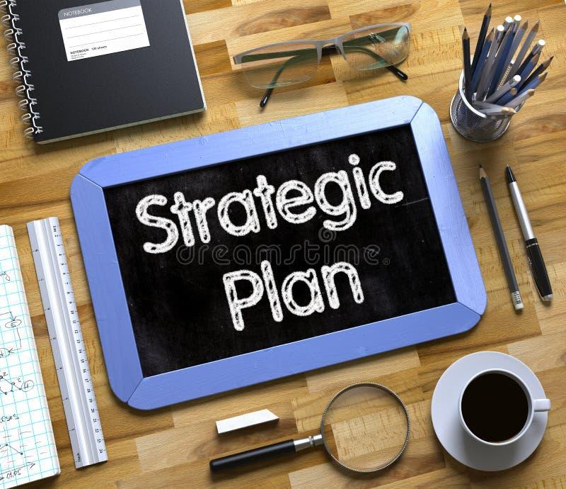 Strategischer Plan handgeschrieben auf kleiner Tafel 3d lizenzfreies stockbild