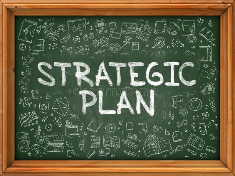 Strategisches Plan-Konzept Grüne Tafel mit Gekritzel-Ikonen stock abbildung