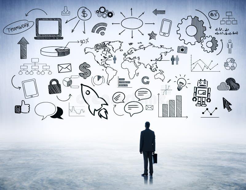 Strategisk planläggning för affär med internetsymboler royaltyfri illustrationer