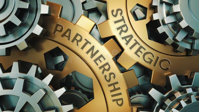 STRATEGISKT PARTNERSKAPbegrepp Guld- och för silverkugghjulhjul för bakgrund illustration 3d framför arkivfoton