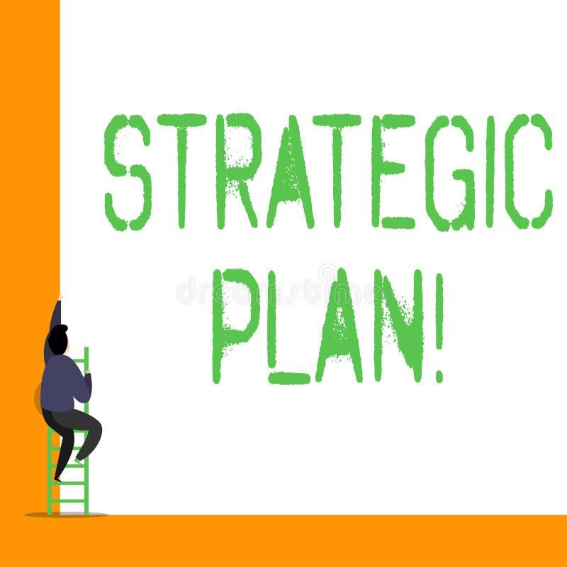 Strategiskt plan f?r ordhandstiltext Affärsidé för analysisagementaktivitet som är van vid uppsättning- och fokusprioriteter royaltyfri illustrationer