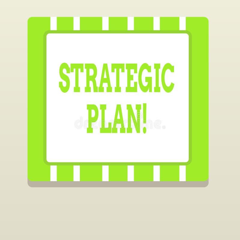 Strategiskt plan f?r ordhandstiltext Aff?rsid? f?r analysisagementaktivitet som ?r van vid upps?ttning- och fokusprioriteter stock illustrationer