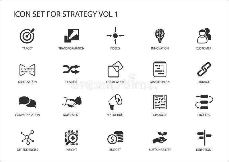 Strategisymbolsuppsättning royaltyfri illustrationer