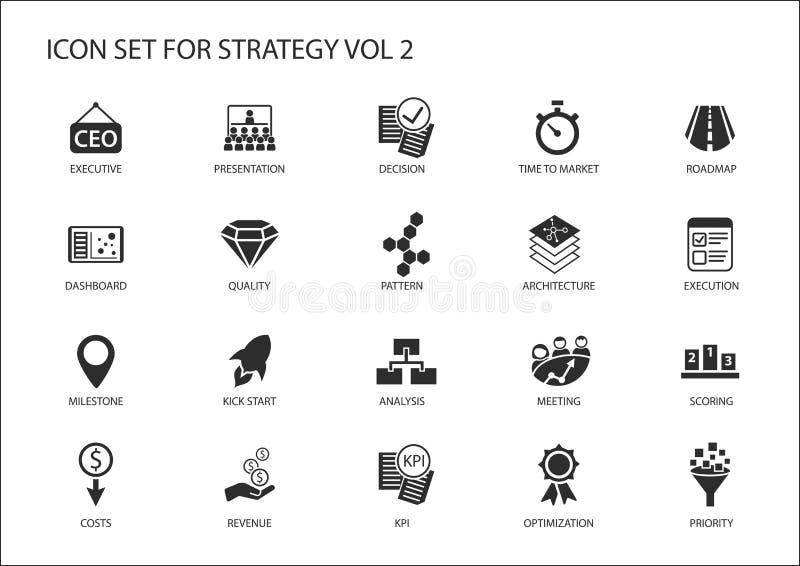 Strategisymbolsuppsättningen med olika symboler för strategiska ämnen gillar optimization, instrumentbrädan, prioritering stock illustrationer