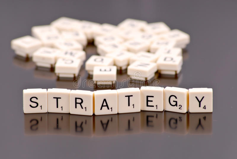 Strategy. Spelled Out with Word Tiles royalty free stock image